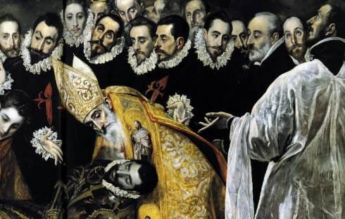 El Entierro del Conde Orgaz de El Greco (1586) Detalle de San Agustín con la cara de Gaspar de Quiroga